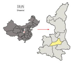 Xi'erens beliggenhed i Shaanxi, Kina.