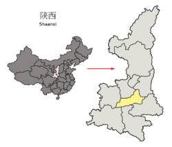 Location of Xi'an City jurisdiction in Shaanxi