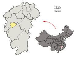 Location of Xinyu City jurisdiction in Jiangxi