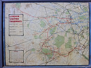London United Tramways - Map of the London United Tramways on the depot wall at the National Tramway Museum