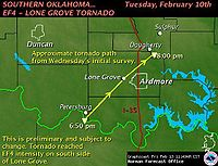 A map showing the SW to NE path of the Southern Oklahoma EF4 Lone Grove tornado of Feb 10th. It starts at Petersburg at 6:50pm, passes through Lone Grove and reaches Dougherty at 8:00 pm.
