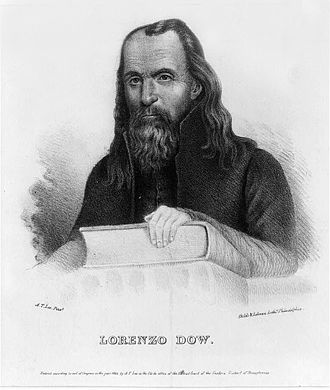 "Sunday Mercury (New York) - Lorenzo Dow (1777–1834), the inspiration for the comic ""Short Patent Sermons"" written by Elbridge G. Paige under the name ""Dow Jr."" in the Mercury"