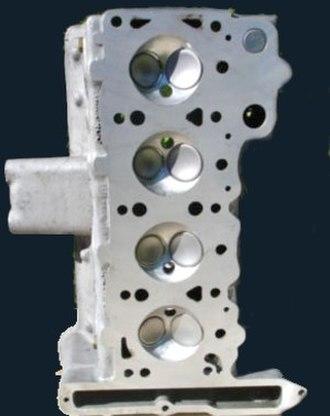 "Hemispherical combustion chamber - Lotus ""big valve"" head with hemispheric chambers"