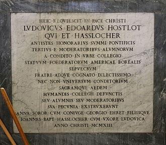 Louis Hostlot - The inscription commemorating Hostlot