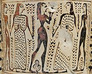 painting of two couples dancing to the sound of an aulos, in the orientalizing style