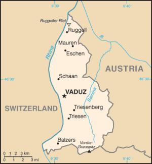 Map of the Principality of Liechtenstein