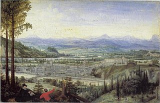 View of Linz with Artist Drawing in the Foreground
