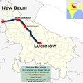 Lucknow Mail (Lucknow - New Delhi) AC Express route map.png