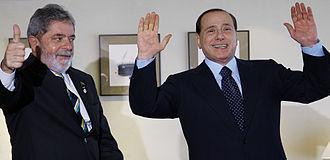 Policies of Silvio Berlusconi - Brazilian ex-President Luiz Inacio Lula da Silva with Silvio Berlusconi