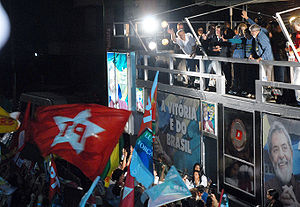 Brazilian general election, 2006 - President Luiz Inácio Lula da Silva celebrating his electoral victory after the 2006 elections.
