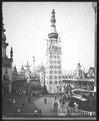 "Luna Park - The ""Electric Tower"", centerpiece of the original Luna Park on Coney Island, ca. 1905. Many subsequent amusement parks that took the name ""Luna Park"" would have their own central towers."