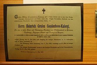 Heinrich von Coudenhove-Kalergi - A copy of his death notice