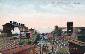 Canada Southern Railway - Postcard showing the St. Thomas Railway Station and the yard as it existed behind the station, circa 1915.