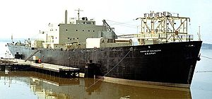 Pohick Creek -  Converted Liberty ship Sturgis with MH-1A nuclear power reactor, in Gunston Cove, 1967.