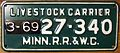 MINNESOTA 1969 -LIVESTOCK CARRIER LICENSE PLATE - Flickr - woody1778a.jpg