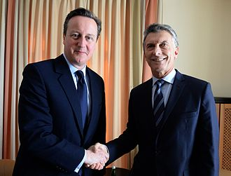 2016 in Argentina - President Mauricio Macri (right) salutes the British Prime Minister David Cameron (left) at the World Economic Forum.