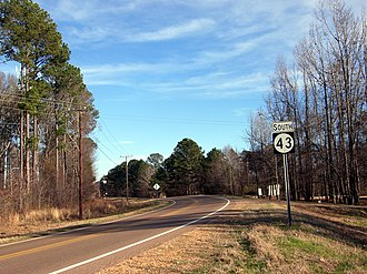 Mississippi Highway 43 - MS 43 as it passes through Goshen Springs, near the Ross Barnett Reservoir.
