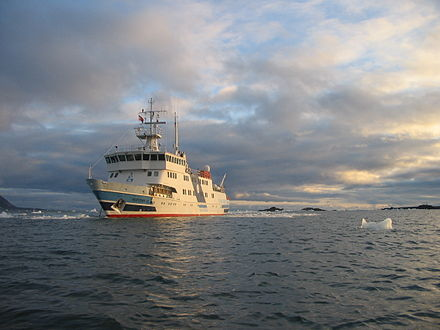 Ships, such as MS Horyzont, are a common way for scientists to get around the island MS Horyzont II Isbjornhamna-1.jpg