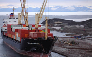Cargo ship - A US cargo ship off McMurdo Station, Antarctica
