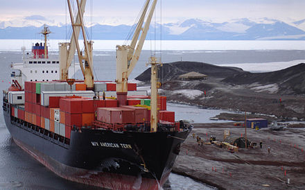 A US cargo ship off McMurdo Station, Antarctica MV American Tern at McMurdo Sound.jpg