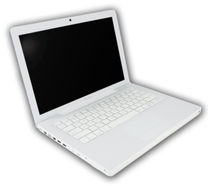 English: White MacBook laptop