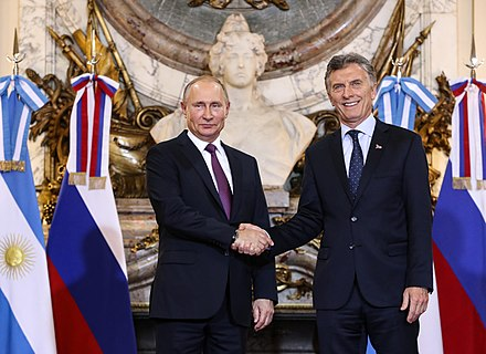 Putin with the President of Argentina, Mauricio Macri in Buenos Aires, November 2018. Macri putin shaking hands.jpg