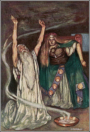 Medb - 'Queen Meave and the Druid', from Eleanor Hull's The Boys' Cuchulainn (1904)