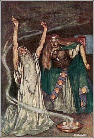 Medb - Queen Meave and the Druid by Stephen Reid, from Eleanor Hull's The Boys' Cuchulainn (1904)