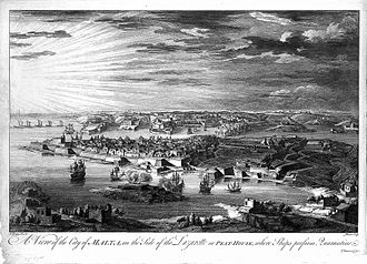 Fort Manoel - Etching showing Marsamxett Harbour in the 1720s, just before the construction of Fort Manoel. The Isolotto (Manoel Island) is the island in the foreground, in the middle of the harbour.