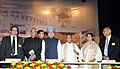 Manmohan Singh at the Closing Ceremony of 1st Diamond Jubilee Year of the Saha Institute of Nuclear Physics, in Kolkata. The Governor of West Bengal, Shri M.K. Narayanan, the Union Finance Minister.jpg