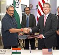 Manohar Parrikar and the US Defence Secretary, Mr. Ashton Carter exchanging the signed document of the 2015 framework for the India – US defence relationship, in New Delhi. The Defence Secretary.jpg