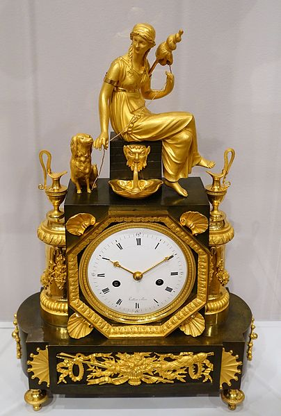 File:Mantel Clock with the Figure of Clotho, Louis-Jacques Vaillant, c. 1810, patinated bronze, gilded mounts, enameled metal dial - Fogg Art Museum, Harvard University - DSC01275.jpg