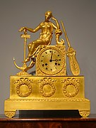 Mantle clock, Saint-Nicolas-d'Aliermont and Paris, France, c. 1825, gilt bronze, glass - Dallas Museum of Art - DSC04783.jpg