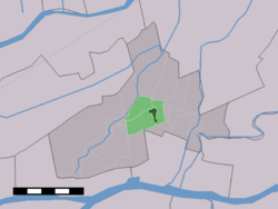 The town centre (dark green) and the statistical district (light green) of Hoornaar in the municipality of Giessenlanden.