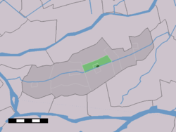 The town centre (dark green) and the statistical district (light green) of Gijbeland in the former municipality of Graafstroom.
