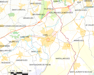 Lunel - Map