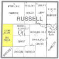 Map highlighting Big Creek Township, Russell County, Kansas.png