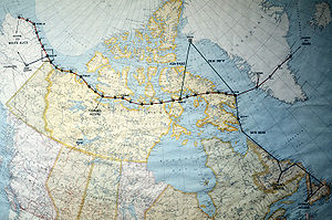A map of North America near the Arctic Circle ...
