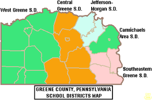 Map of Greene County Pennsylvania School Districts.png