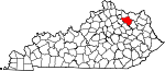 State map highlighting Fleming County