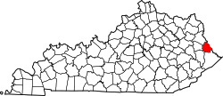 map of Kentucky highlighting Martin County