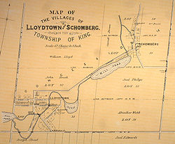 A map from 1878 showing lots 30-34 in King Township, including the communities of Lloydtown and Schomberg.