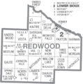 Map of Redwood County Minnesota With Municipal and Township Labels.PNG