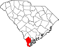 Map of South Carolina highlighting Jasper County