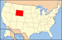 Map of the USA highlighting Wyoming