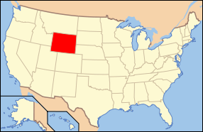 Map of USA with Wyoming highlighted