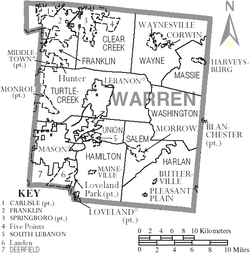Map of Warren County Ohio With Municipal and Township Labels.PNG