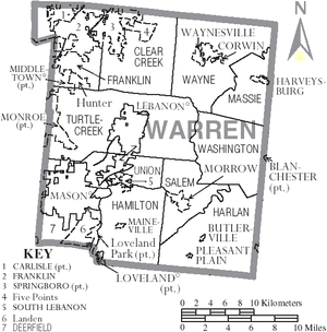 Warren County, Ohio - Map of Warren County, Ohio with municipal and township labels