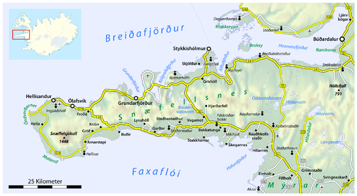 Map of the Snæfellsnes peninsula