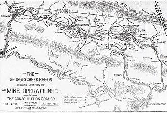 Georges Creek Valley - Map of the Georges Creek region, 1907